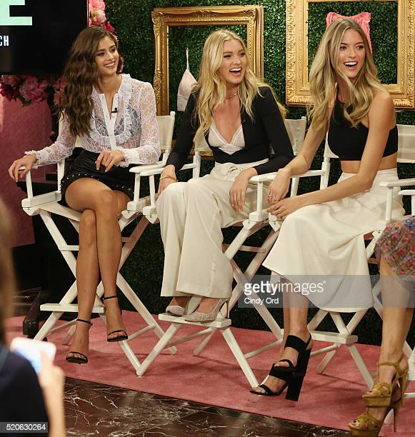 Victoria's Secret Angels Taylor Hill Elsa Hosk and Martha Hunt host global media live stream to reveal Bralette Collection launch multicity tour at...