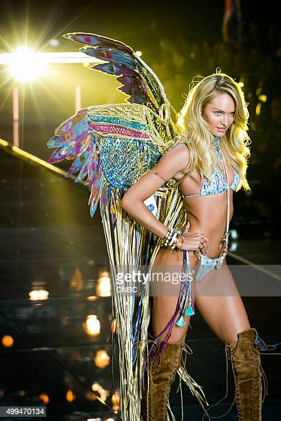 Victoria's Secret Fashion Show Pictured Model Candice Swanepoel walks the runway during the 2015 Victoria's Secret Fashion Show in New York City on...