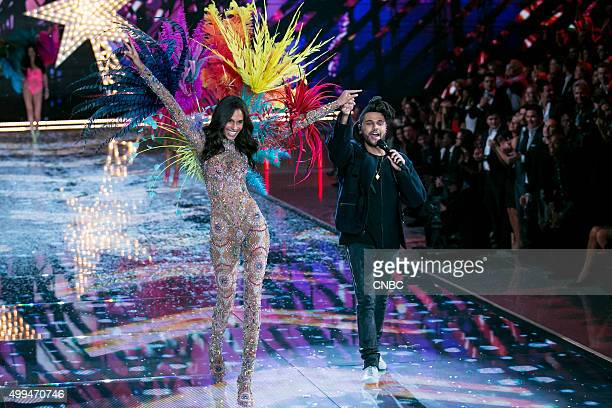 Victoria's Secret Fashion Show Pictured Model Cindy Bruna walks the runway while The Weeknd performs during the 2015 Victoria's Secret Fashion Show...