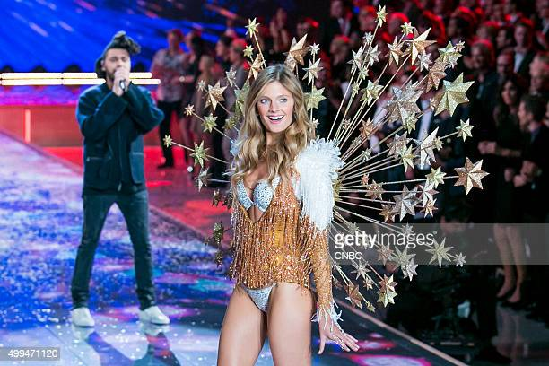 Victoria's Secret Fashion Show Pictured Model Constance Jablonski walks the runway while The Weeknd performs during the 2015 Victoria's Secret...