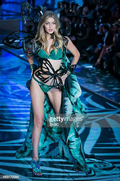 Victoria's Secret Fashion Show Pictured Model Gigi Hadid walks the runway during the 2015 Victoria's Secret Fashion Show in New York City on November...