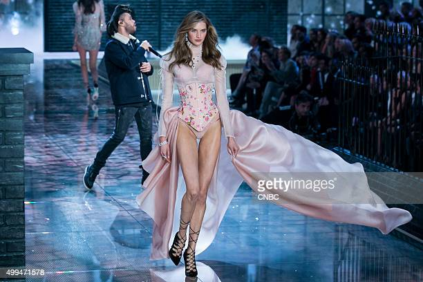 Victoria's Secret Fashion Show Pictured Model Sanne Vloet walks the runway while The Weeknd performs during the 2015 Victoria's Secret Fashion Show...