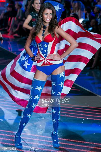 Victoria's Secret Fashion Show Pictured Model Taylor Hill walks the runway during the 2015 Victoria's Secret Fashion Show in New York City on...