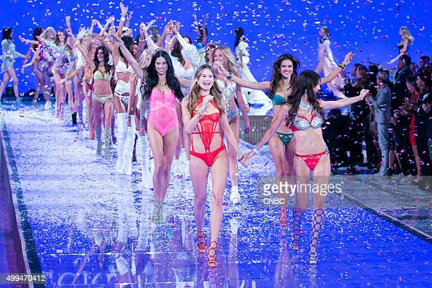 Victoria's Secret Fashion Show Pictured Models Behati Prinsloo and Lily Aldridge who wears the Fantasy Bra valued at $2 million lead the models down...