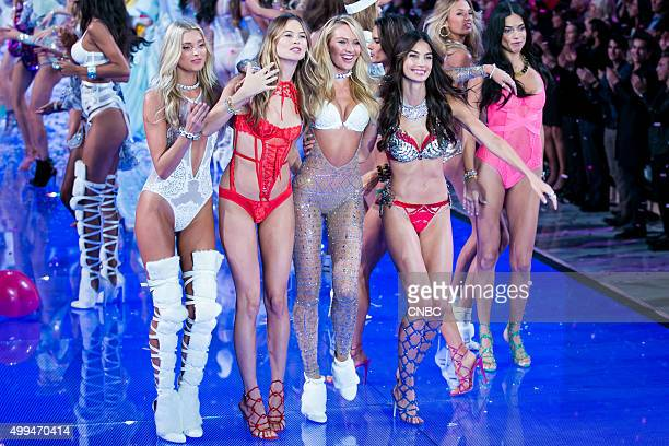 Victoria's Secret Fashion Show Pictured Models Elsa Hosk Behati Prinsloo Candice Swanepoel and Lily Aldridge who wears the Fantasy Bra valued at $2...