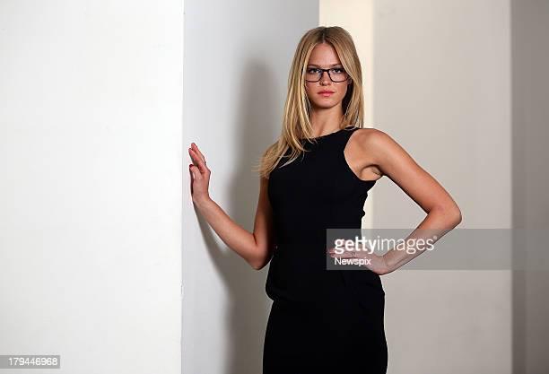 219ccff064 Victoria s Secret lingerie model Erin Heatherton poses during a photo shoot  at Town Hall on August