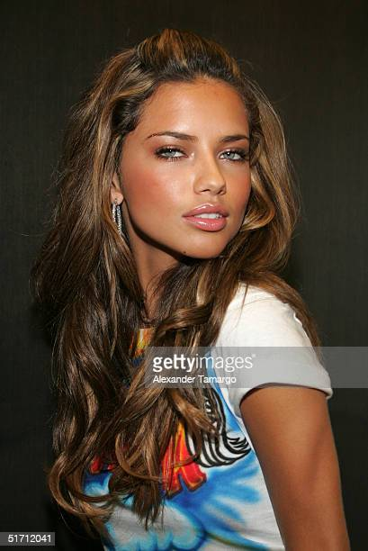 Victoria's Secret model Adriana Lima poses backstage during the Miami Heat vs Washington Wizards game at American Airlines Arena in Miami Florida on...