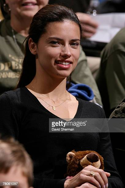 Victoria's Secret model Adriana Lima watches the Minnesota Timberwolves take on the Cleveland Cavaliers on November 21 2007 at the Target Center in...