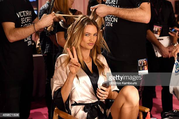 Victoria's Secret model Behati Prinsloo is seen backstage prior the 2014 Victoria's Secret Fashion Show on December 2 2014 in London England