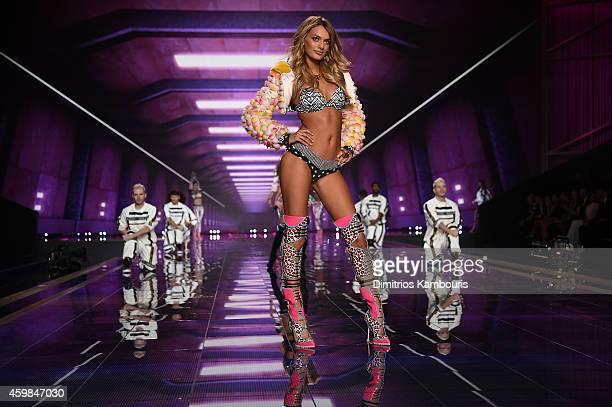 Victoria's Secret model Bregje Heinen walks the runway during the 2014 Victoria's Secret Fashion Show at Earl's Court exhibition centre on December 2...
