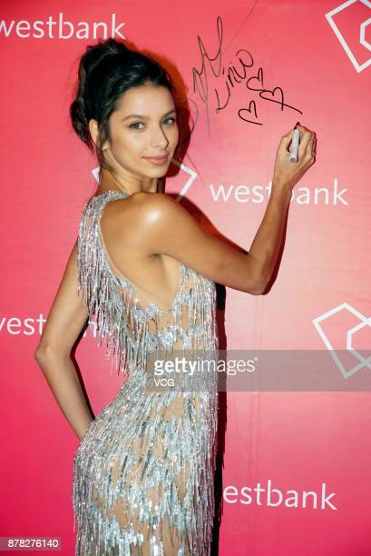 Victoria's Secret model Bruna Lirio poses as she arrives on the red carpet for 'Fight For Beauty' exhibition on November 23 2017 in Shanghai China