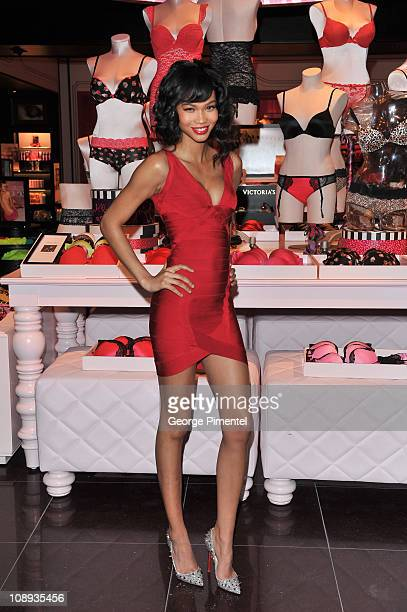 Victoria's Secret Model Chanel Iman promotes Valentine's Day at Victoria's Secret at the Toronto Eaton Centre on February 9 2011 in Toronto Canada