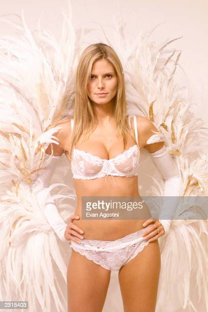 Victoria's Secret model fittings in preparations for the Victoria's Secret 2001 Fashion Show Pictured Model Heidi Klum trying out her wings New York...