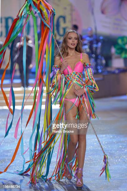 Victoria's Secret model Frida Gustavsson walks the runway during the 2012 Victoria's Secret Fashion Show at the Lexington Avenue Armory on November 7...