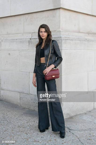 Victoria's Secret Model Georgia Fowler wears a Frame jacket Chanel bag and Georgia Alice top day 5 of Paris Womens Fashion Week Spring/Summer 2018 on...