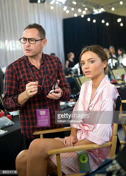Victoria's Secret model Miranda Kerr backstage in hair and makeup at the Victoria's Secret fashion show at The Armory on November 19 2009 in New York...