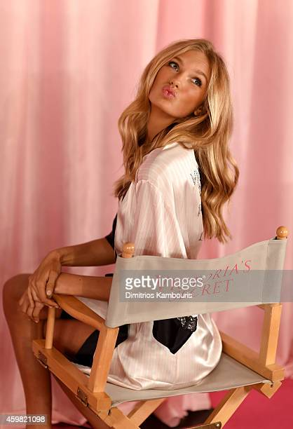 Victoria's Secret model Romee Strijd is seen backstage prior the 2014 Victoria's Secret Fashion Show on December 2 2014 in London England
