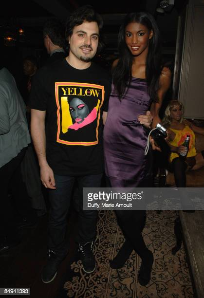 Victoria's Secret model Sessilee Lopez and designer Jamison Ernest attend the Yellow Fever launch party at RdV on February 19 2009 in New York City