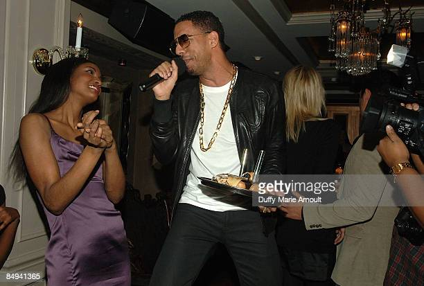 Victoria's Secret model Sessilee Lopez and singer Ryan Leslie attend the Yellow Fever launch party at RdV on February 19 2009 in New York City