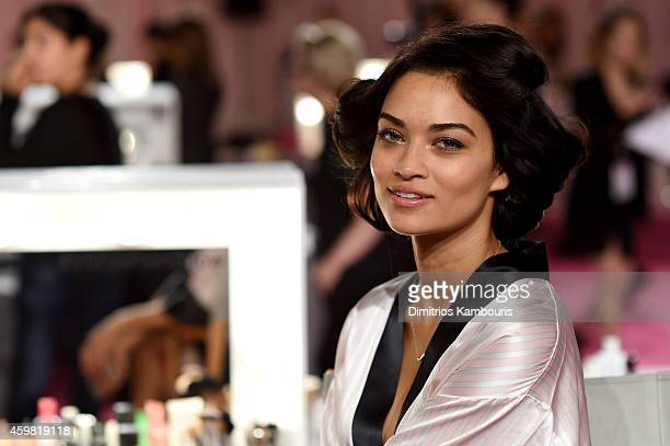 Victoria's Secret model Shanina Shaik is seen backstage prior the 2014 Victoria's Secret Fashion Show on December 2 2014 in London England