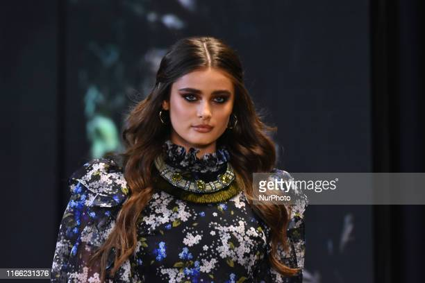 Victoria's Secret model Taylor Hill walks on the catwalk during the fashion show as part of Fashion Fest Autumn/ Winter 2019 at Quarry Studios on...