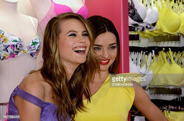 Victoria's Secret models Behati Prinsloo and Miranda Kerr at an introduction of the new Fabulous by Victoria's Secret collection of bras bikinis and...