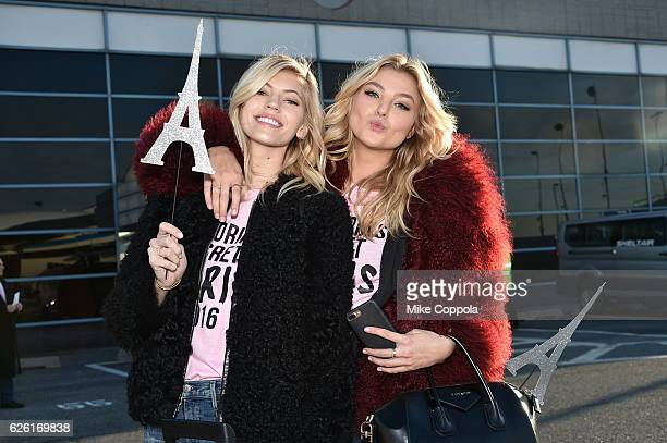 Victoria's Secret models Devon Windsor and Rachel Hilbert depart for Paris for the 2016 Victoria's Secret Fashion Show on November 27 2016 in New...