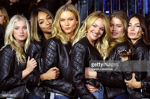 Victoria's Secret models Elsa Hosk Jourdan Dunn Karlie Kloss Candice Swanepoel Doutzen Kroes and Lily Aldridge attend the 2014 Victoria's Secret...