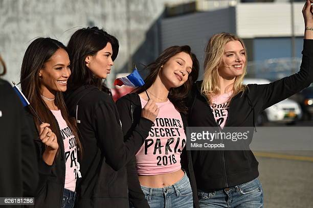 Victoria's Secret models Joan Smalls Kendall Jenner Bella Hadid and Lily Donaldson depart for Paris for the 2016 Victoria's Secret Fashion Show on...
