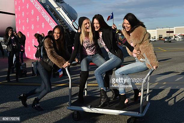 Victoria's Secret models Joan Smalls Lily Donaldson Bella Hadid and Kendall Jenner depart for Paris for the 2016 Victoria's Secret Fashion Show on...