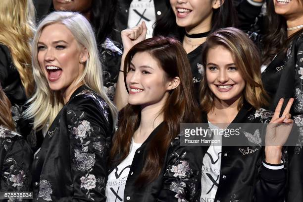Victoria's Secret models Karlie Kloss Sui He and Sanne Vloet pose during the All Model Appearance At MercedesBenz Arena on November 18 2017 in...