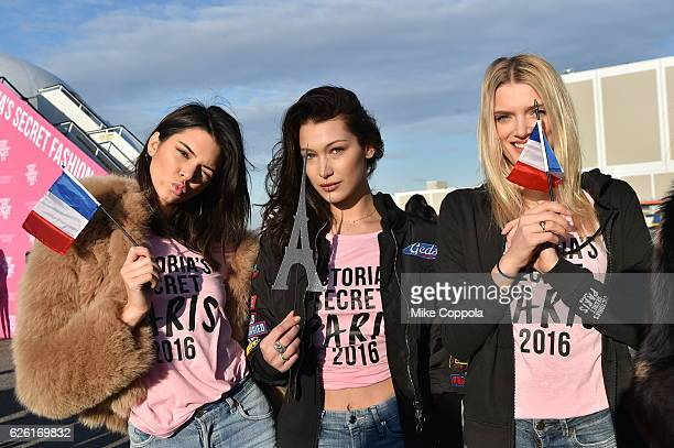 Victoria's Secret models Kendall Jenner Bella Hadid and Lily Donaldson depart for Paris for the 2016 Victoria's Secret Fashion Show on November 27...