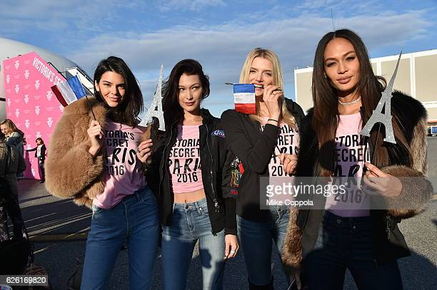 Victoria's Secret models Kendall Jenner Bella Hadid Lily Donaldson and Joan Smalls depart for Paris for the 2016 Victoria's Secret Fashion Show on...