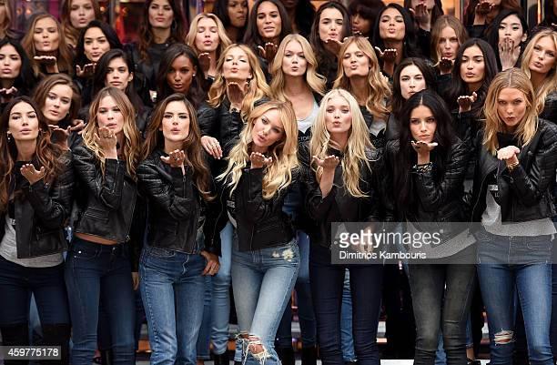 Victoria's Secret models Lily Aldridge Behati Prinsloo Alessandra Ambrosio Candice Swanepoel Elsa Hosk Adriana Lima and Karlie Kloss attend the 2014...