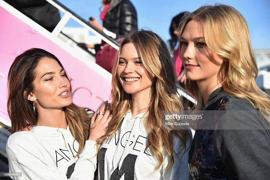 Victoria's Secret Models Depart For London For 2014 Victoria's Secret Fashion Show : News Photo
