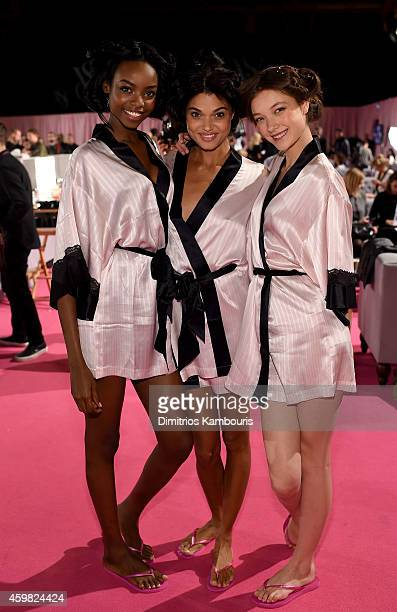 Victoria's Secret models Maria Borges Daniela Braga and Yumi Lambert are seen backstage prior the 2014 Victoria's Secret Fashion Show on December 2...