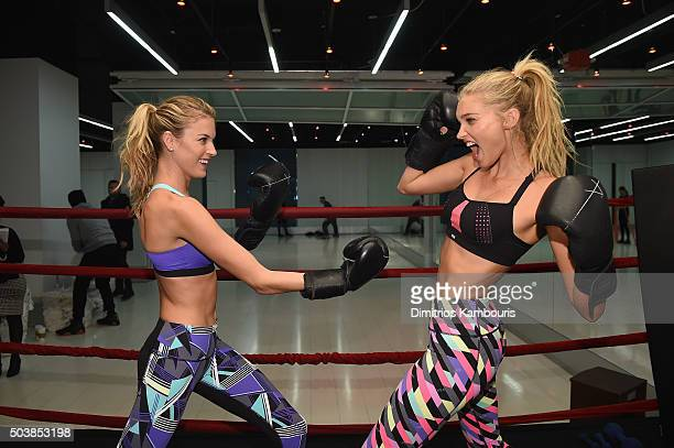 Victoria's Secret models Martha Hunt and Elsa Hosk box it out wearing Victoria Secret Sport at Aerospace High Performance Center on January 7 2016 in...