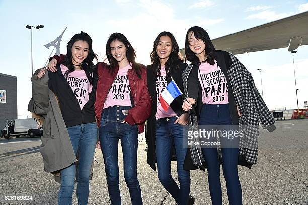 Victoria's Secret models Ming Xi Sui He Liu Wen and Xiao Wen Ju depart for Paris for the 2016 Victoria's Secret Fashion Show on November 27 2016 in...