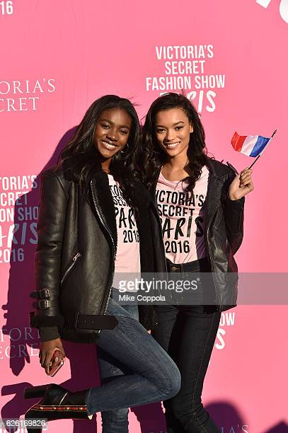 Victoria's Secret models Zuri Tibby and Lameka Fox depart for Paris for the 2016 Victoria's Secret Fashion Show on November 27 2016 in New York City
