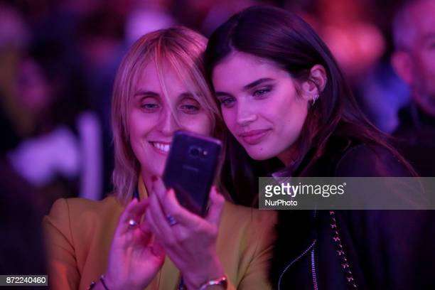 Victoria's Secret Portuguese Model Sara Sampaio take a selfie with a fan during the Web Summit 2017 in Lisbon Portugal on November 9 2017