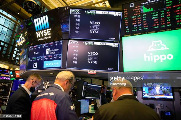 Victoria's Secret signage during the company's listing after spinning off from L Brands on the floor of the New York Stock Exchange in New York,...