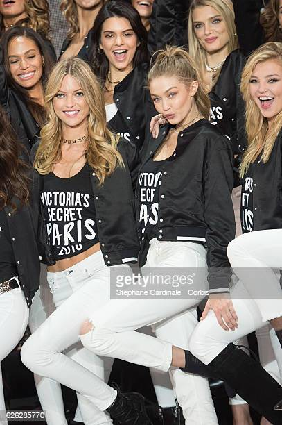 'Victoria's Secret' supermodel Joan Smalls Kendall Jenner Lily Donaldson Martha Hunt Gigi Hadid and Rachel Hilbert pose during a photocall to mark...