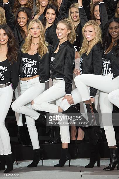 'Victoria's Secret' supermodel Joan Smalls Kendall Jenner Lily Donaldson Izabel Goulart Lily Aldridge Martha Hunt Gigi Hadid and Rachel Hilbert pose...
