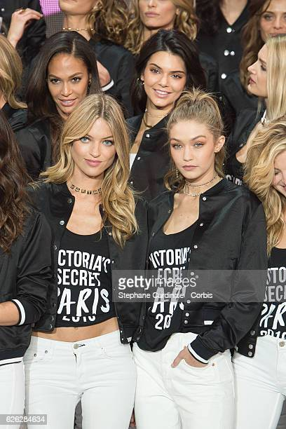 'Victoria's Secret' supermodel Joan Smalls Kendall Jenner Martha Hunt Gigi Hadid pose during a photocall to mark the countdown to the '2016...