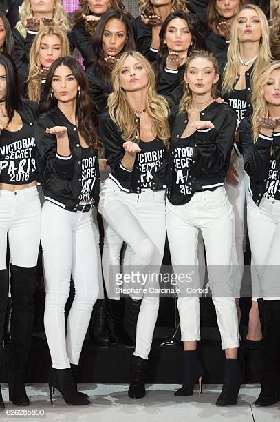 'Victoria's Secret' supermodel Stella Maxwell Joan Smalls Kendall Jenner Lily Donaldson Lily Aldridge Martha Hunt and Gigi Hadid pose during a...