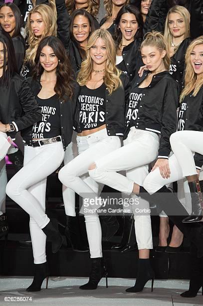 'Victoria's Secret' supermodel Stella Maxwell Joan Smalls Kendall Jenner Lily Donaldson Lily Aldridge Martha Hunt Gigi Hadid and Rachel Hilbert pose...