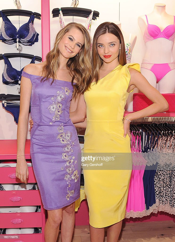 Victoria's Secret Supermodels Behati Prinsloo (L) and Miranda Kerr attends the Fabulous Collection Launch at Victoria's Secret Herald Square on February 26, 2013 in New York City.