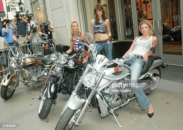 Victoria's Secret supermodels Heidi Klum Ines Rivero and Bridget Hall launch the new Rock Angel lingerie collection at the Victoria's Secret 34th...