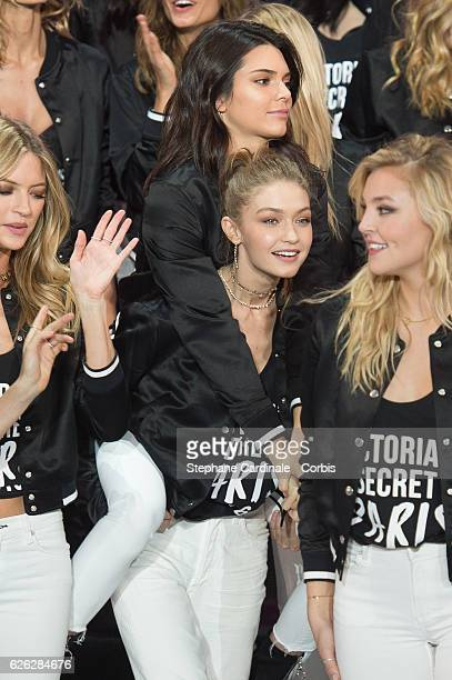 'Victoria's Secret' supermodels Kendall Jenner and Gigi Hadid pose during a photocall to mark the countdown to the '2016 Victoria's Secret' show at...