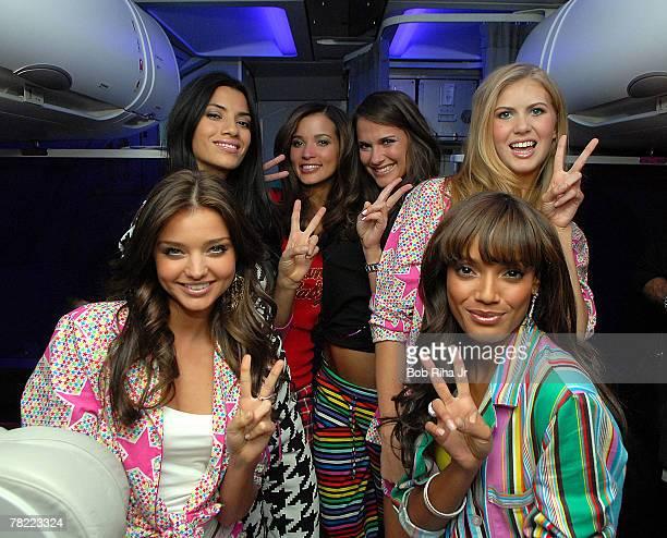 Victoria's Secret supermodels Miranda Kerr and Selita Ebanks are joined by models Melida Prado Olivia Redmond Samantha Tannehill and Lauren Browne...